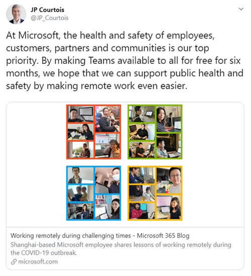 Tweet from the Microsoft EVP and President